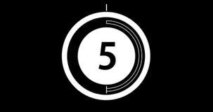 Reloj circular de la cuenta descendiente, 10 segundos con números y círculos que marcan tiempo ilustración del vector