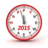 Reloj con el texto 2015 del Año Nuevo del happer ilustración del vector