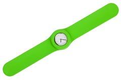 Reloj con estilo con una correa plástica verde Imagen de archivo