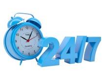 Reloj con la inscripción 24/7 Fotos de archivo libres de regalías