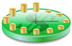 Reloj con las monedas. Fotografía de archivo