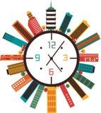 Reloj con los edificios Imagenes de archivo
