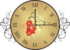 Reloj con los elementos decorativos Imagen de archivo libre de regalías