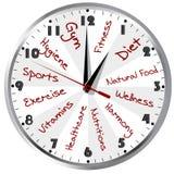Reloj conceptual por una vida sana Imagen de archivo libre de regalías