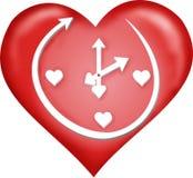 Reloj - corazón rojo Imagen de archivo libre de regalías