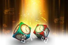 reloj 3d en cubo Foto de archivo libre de regalías