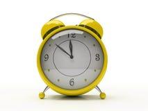 Reloj de alarma amarillo aislado en el fondo blanco 3D Imagen de archivo libre de regalías