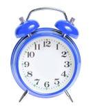 Reloj de alarma azul aislado Imagenes de archivo