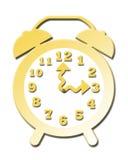 Reloj de alarma del oro en 3 P.M. Stock de ilustración