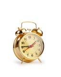 Reloj de alarma en blanco Fotografía de archivo libre de regalías