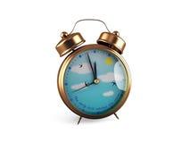 Reloj de alarma retro aislado en blanco Imagenes de archivo