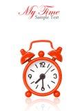 Reloj de alarma rojo en blanco Imagen de archivo