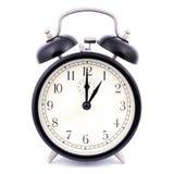 Reloj de alarma tradicional del alto detalle del 1:00 Fotografía de archivo libre de regalías
