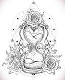 Reloj de arena antiguo decorativo con el ejemplo de las rosas aislado encendido stock de ilustración