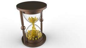 Reloj de arena con los dólares Imagen de archivo