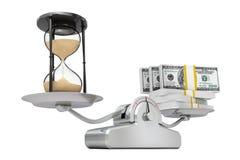 Reloj de arena de la arena con el dinero que equilibra en una escala simple de la carga Fotos de archivo libres de regalías