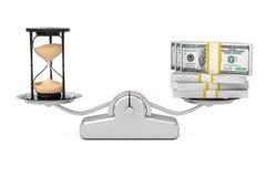Reloj de arena de la arena con el dinero que equilibra en una escala simple de la carga Fotografía de archivo