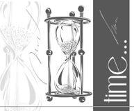 Reloj de arena de la arena Contador de tiempo simple y elegante del arena-vidrio Ejemplo del vector del reloj de la arena Imagen de archivo libre de regalías