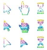 Reloj de arena de la flecha de la mano del ratón de los iconos de los cursores del pixel Fotografía de archivo libre de regalías