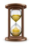 Reloj de arena de la vendimia en marco de madera Fotos de archivo libres de regalías