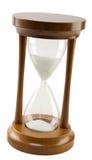 Reloj de arena de madera inclinado fotos de archivo