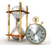 Reloj de arena, vidrio de la arena aislado en el fondo blanco Foto de archivo libre de regalías