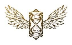 Reloj de arena y alas Muestra, símbolo Fotografía de archivo libre de regalías