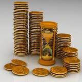 Reloj de arena y monedas ilustración del vector