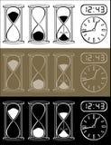 Reloj de arena y reloj Fotografía de archivo
