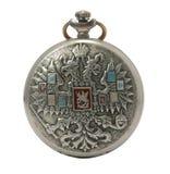 Reloj de bolsillo antiguo aislado Fotografía de archivo