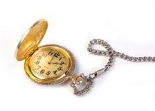 Reloj de bolsillo antiguo del oro de la vendimia Fotos de archivo libres de regalías