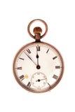 Reloj de bolsillo antiguo en blanco Imágenes de archivo libres de regalías