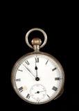 Reloj de bolsillo antiguo en negro Imagenes de archivo
