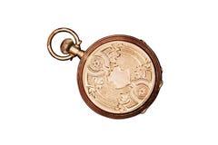 Reloj de bolsillo antiguo grabado Foto de archivo libre de regalías