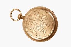 Reloj de bolsillo antiguo grabado Fotografía de archivo