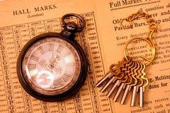 Reloj de bolsillo con claves de reloj Foto de archivo