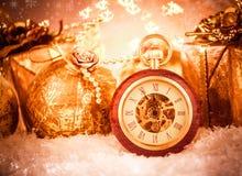 Reloj de bolsillo de la Navidad Imagenes de archivo