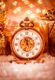 Reloj de bolsillo de la Navidad Imagen de archivo libre de regalías