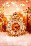Reloj de bolsillo de la Navidad Fotografía de archivo libre de regalías