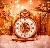 Reloj de bolsillo de la Navidad Foto de archivo