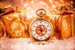 Reloj de bolsillo de la Navidad Fotos de archivo libres de regalías