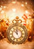 Reloj de bolsillo de la Navidad Fotos de archivo