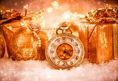Reloj de bolsillo de la Navidad Foto de archivo libre de regalías