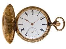 Reloj de bolsillo de oro de la vendimia, aislado en blanco Fotografía de archivo libre de regalías