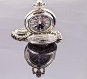 Reloj de bolsillo de plata Imagenes de archivo