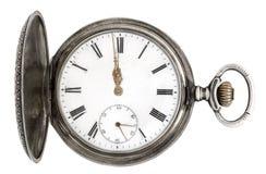 Reloj de bolsillo de plata viejo Imagen de archivo libre de regalías