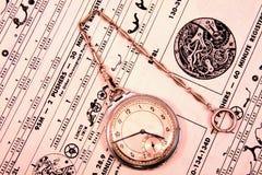 Reloj de bolsillo del deco de la vendimia Imagenes de archivo