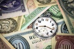Reloj de bolsillo del húngaro el tiempo es oro Foto de archivo
