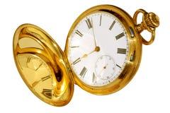 Reloj de bolsillo del oro Foto de archivo libre de regalías