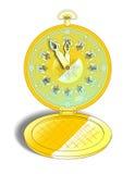 Reloj de bolsillo del oro del vintage Imágenes de archivo libres de regalías